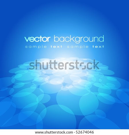 Vector 3D circle on the blue background with text - stock vector