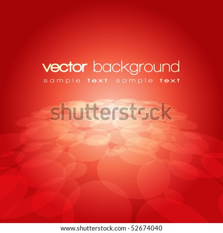 Vector 3D circle on the red background with text - stock vector