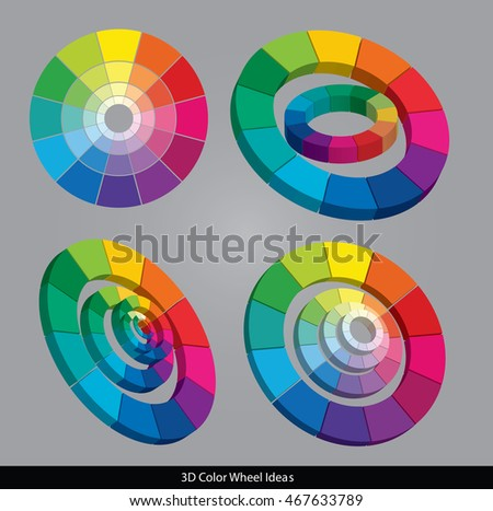 Vector 3D Color Wheels Isolated On Gray Background