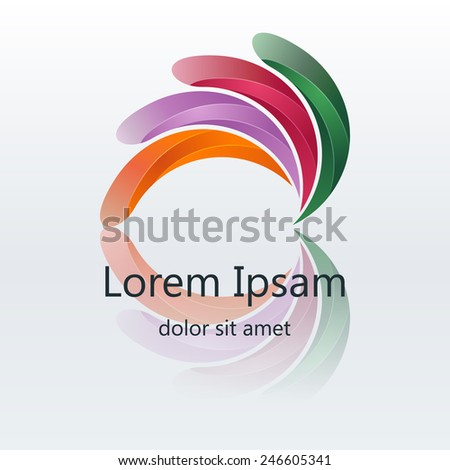 Vector 3d colorful abstract logo design elements in round shape form. Corporate identity. - stock vector
