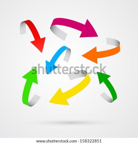 vector 3d colorful arrows - stock vector