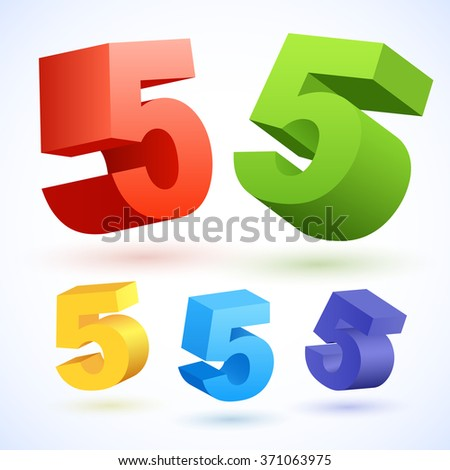 Vector 3D colorful numbers. Number 5