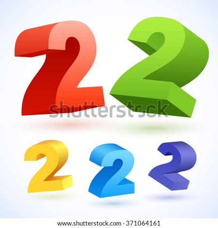 Vector 3D colorful numbers. Number 2 - stock vector