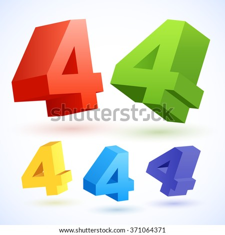 Vector 3D colorful numbers. Number 4 - stock vector