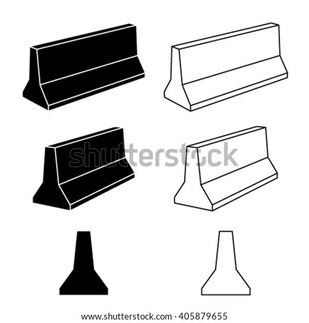 vector 3d concrete road barrier black symbols - stock vector
