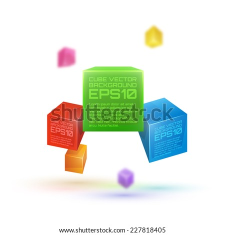 Vector 3d cube colorful abstract background on white background. - stock vector