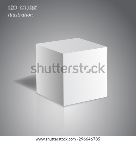 Vector 3d cube on dark background with reflection for your design. - stock vector