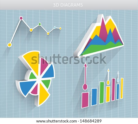 Vector 3d diagram and pie charts - stock vector