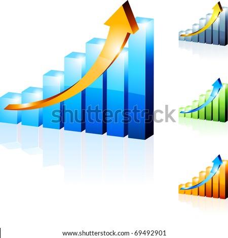 Vector 3d diagrams. - stock vector