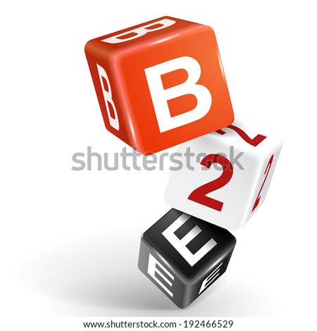vector 3d dice with word B2E business to employee on white background - stock vector