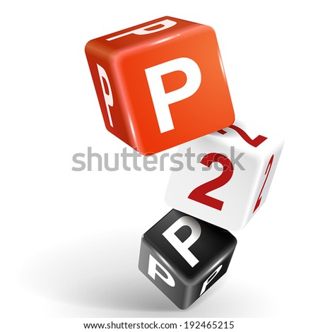 vector 3d dice with word P2P peer to peer on white background - stock vector