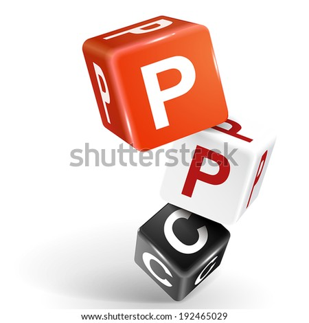 vector 3d dice with word PPC pay per click on white background - stock vector