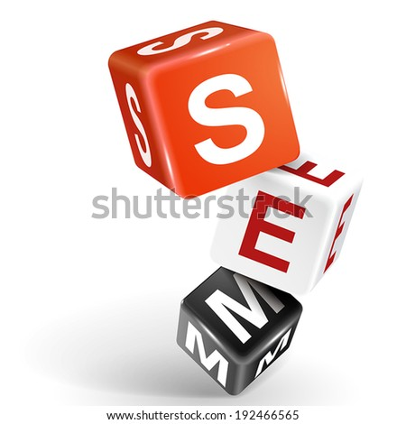 vector 3d dice with word SEM Search Engine Marketing on white background - stock vector