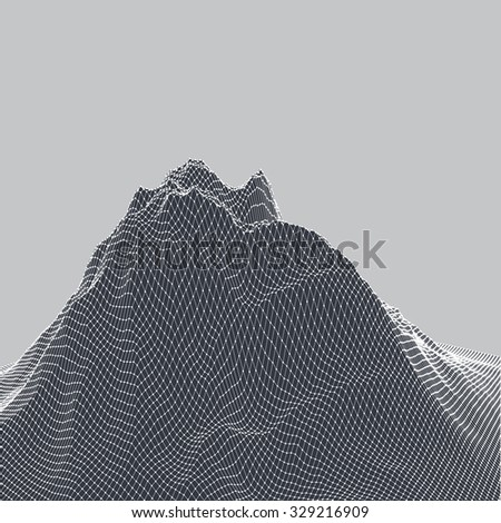 vector 3d digital landscape. black and white monochromatic background with mountain for modern poster, desktop wallpaper or any graphic design use.
