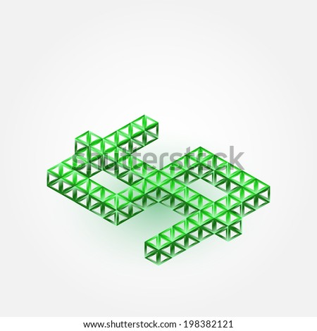 Vector 3D Dollar Sign made with triangles - green abstract icon - stock vector