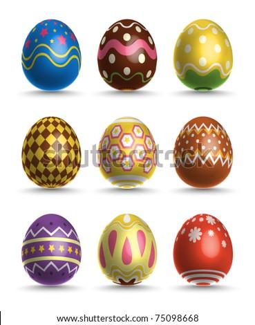 Vector 3D Easter Eggs - stock vector