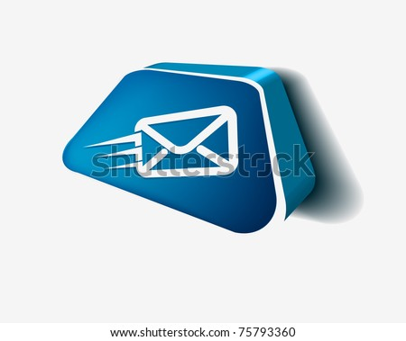 vector 3d email icon web design element. - stock vector