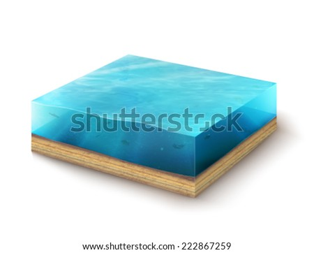 vector 3d environment - sea  - stock vector