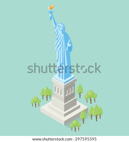 Vector 3d flat isometric monument of Statue of Liberty in USA - stock vector
