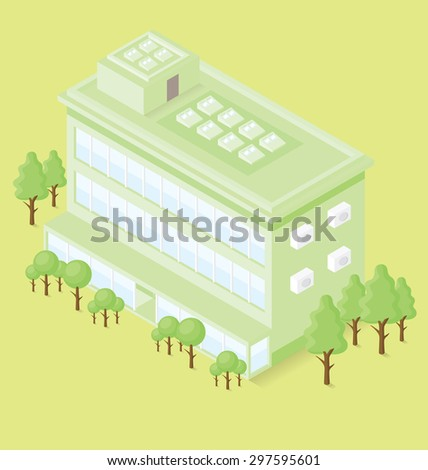 Vector 3d flat isometric office building with trees - stock vector
