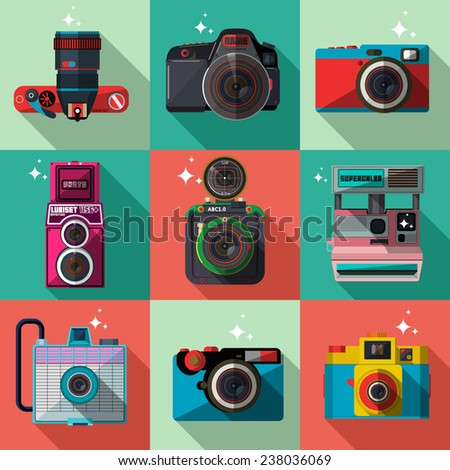 Vector 3D Flat Retro Cameras - stock vector