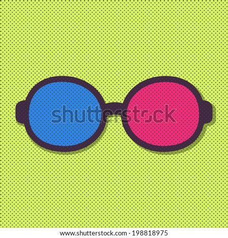 Vector 3d Flat Simple Glasses Icon - stock vector
