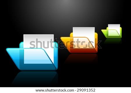 Vector 3D Folder Icons - stock vector