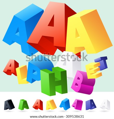 Vector 3D font of randomly rotated colourful letters. All letters in alphabet have 8 random points of view. Letter A - stock vector