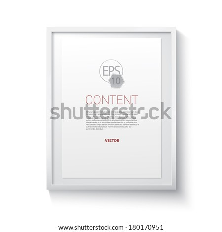 Vector 3d gallery frame in a three dimensional render style with an artistic backdrop shadow as an interior design text box element. For infographics, picture framing, content holder.A4 edition - stock vector