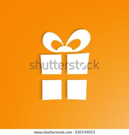 Vector 3d Gift Box on bright orange background eps 10 - stock vector
