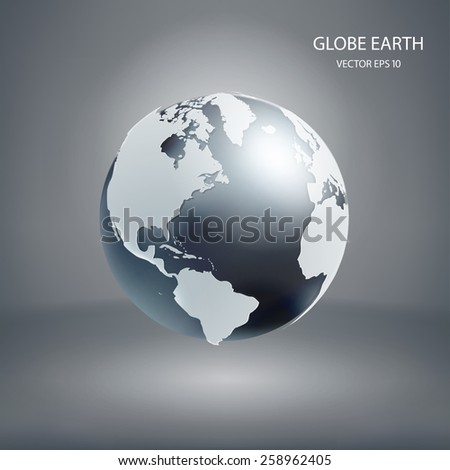 Vector 3d globe icon of the world  - stock vector
