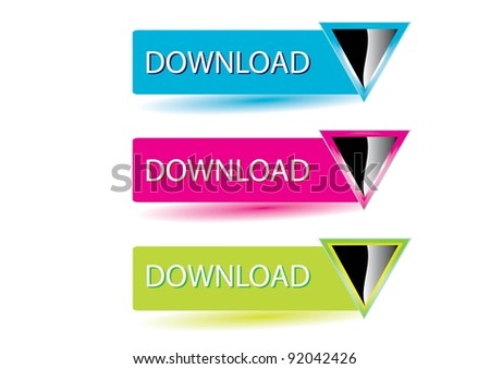 Vector 3d glossy download button set. Internet icons collection. - stock vector