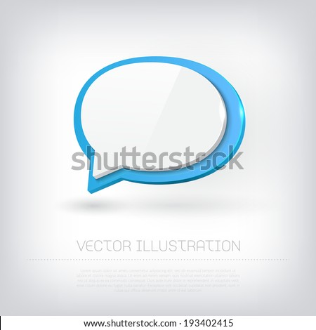 Vector 3d glossy plastic speech bubble icons - stock vector