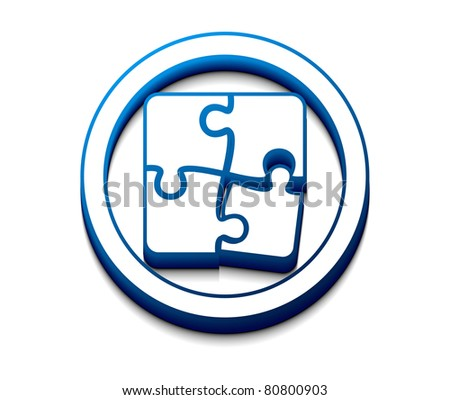 vector 3d glossy puzzle web icon design element. - stock vector