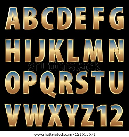 vector 3d golden alphabet with sky reflection - stock vector