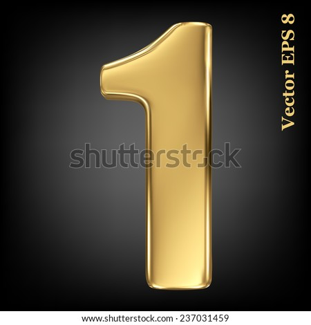 Vector 3d golden number collection - 1. Eps 8 using mesh. - stock vector