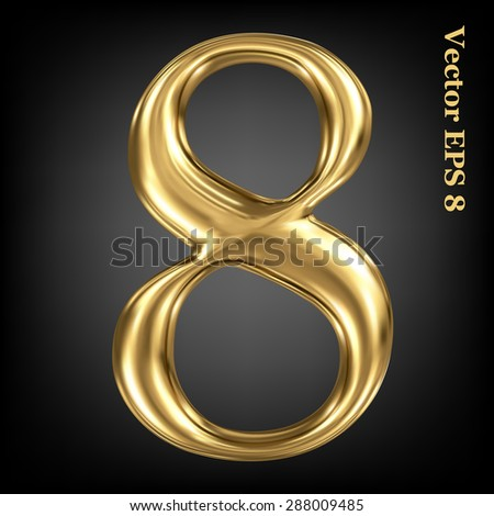 Vector 3d golden number collection - 8. Eps 8 using mesh. - stock vector