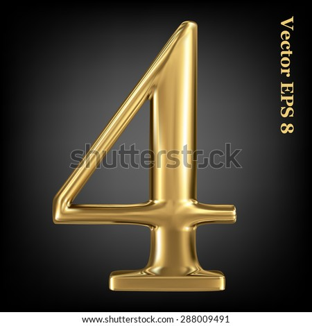 Vector 3d golden number collection - 4. Eps 8 using mesh. - stock vector