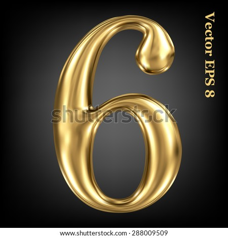 Vector 3d golden number collection - 6. Eps 8 using mesh. - stock vector