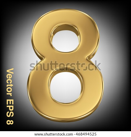 Vector 3d golden number collection - 8. Eps 8 using mesh.