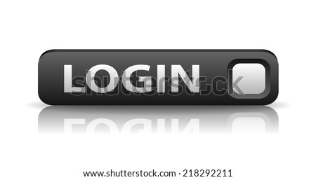 vector 3D gray web button with white sign login and reflection - stock vector