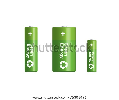 Vector 3D green batteries  set with recycling symbol. Model 3D - you can rotate and change position in 3D - stock vector