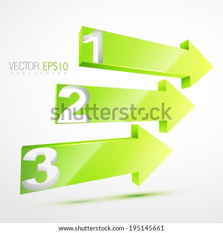 vector 3d green number arrows illustration