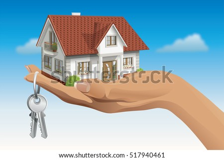 Vector 3d house building on hand with keys