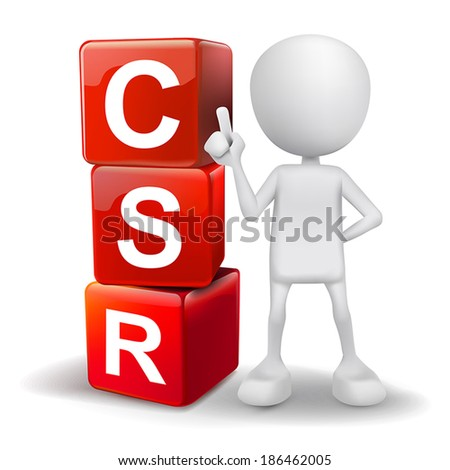 vector 3d human with word CSR corporate social responsibility cubes on white background - stock vector