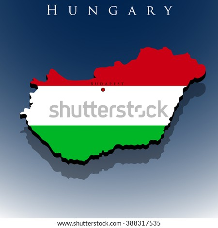 vector 3d Hungary map with a flag on a blue background, EPS 10
