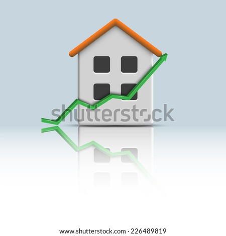 Vector 3d icon house with green arrow - stock vector