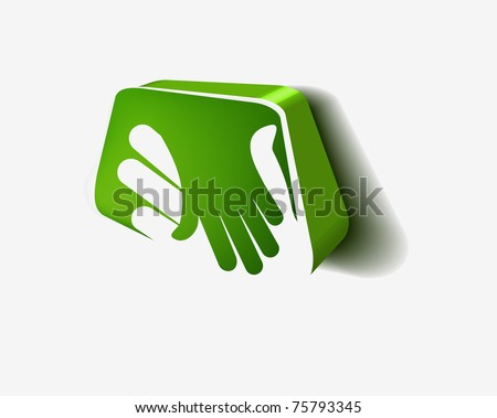 vector 3d icon of shaking hands design. - stock vector