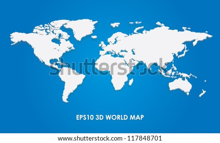 Vector 3d illustration of the world map - stock vector