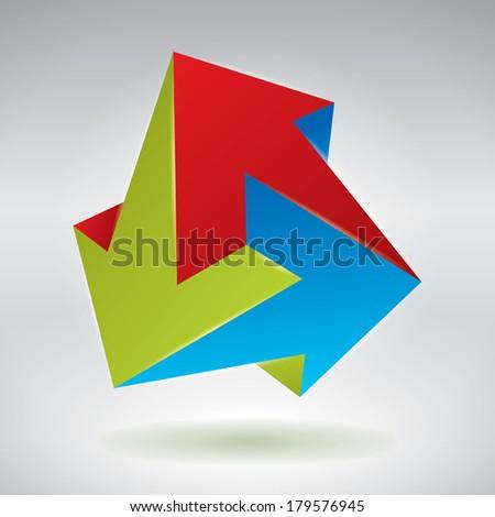 Vector 3D impossible figures, unreal objects, vector unreal arrows - stock vector